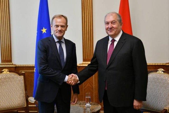 Армен Саркисян принял председателя Европейского совета Дональда Туска