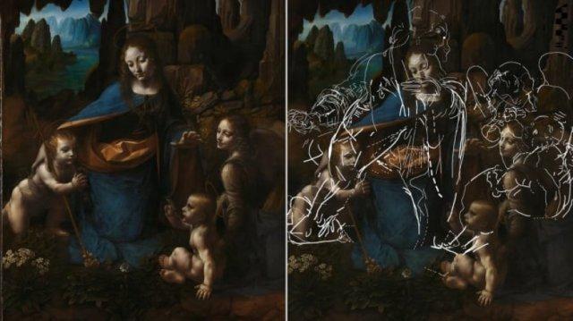 Неизвестные эскизы да Винчи нашли под картиной «Мадонна в скалах»