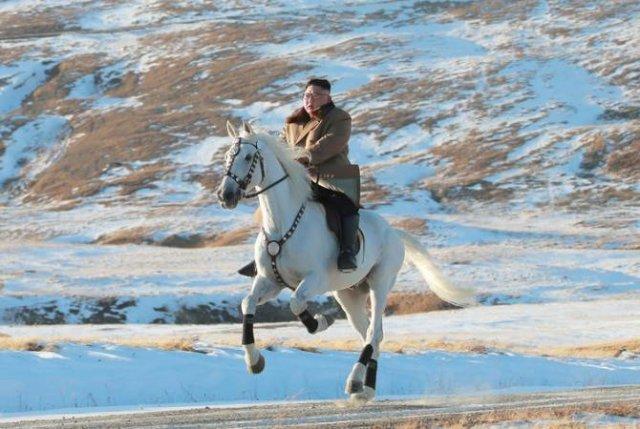 Ким Чен Ын поднялся на священную гору на белом рысаке