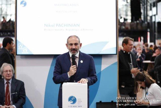Никто не может говорить с Арменией на языке угроз: Пашинян на Парижском форума мира
