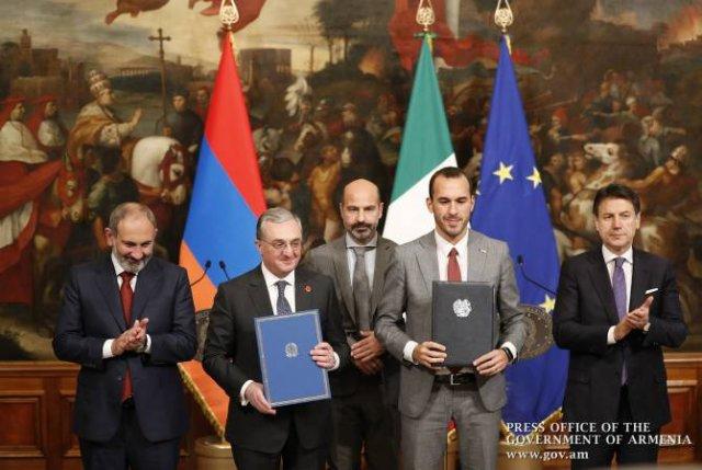 Между правительствами Армении и Италии подписаны документы о двустороннем сотрудничестве