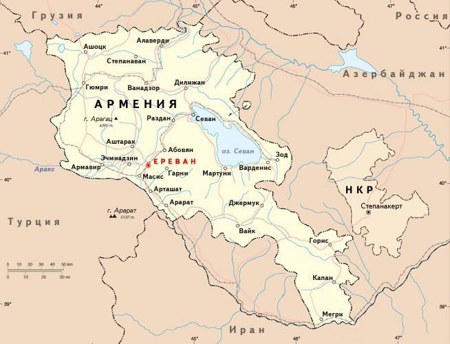 Карта Нагорный Карабах